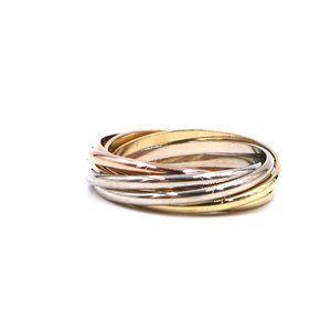 18k Trinity White Yellow Gold 7 Band 56 7.75 Ring